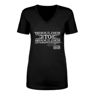 SHOULDER TO SHOULDER - Women's Short Sleeve V-neck T-shirt - Black Thumbnail