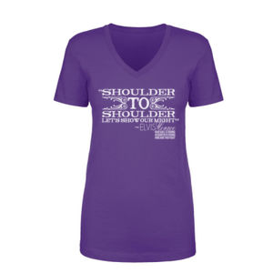 SHOULDER TO SHOULDER - Women's Short Sleeve V-neck T-shirt - Purple Thumbnail