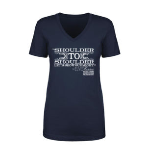 SHOULDER TO SHOULDER - Women's Short Sleeve V-neck T-shirt - Navy Thumbnail