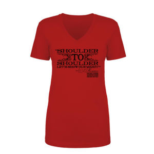 SHOULDER TO SHOULDER - Women's Short Sleeve V-neck T-shirt - Red Thumbnail