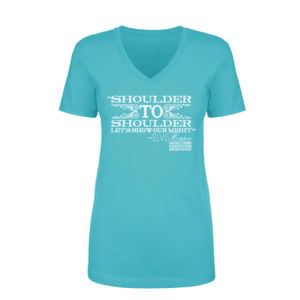 SHOULDER TO SHOULDER - Women's Short Sleeve V-neck T-shirt - Tahiti Blue Thumbnail