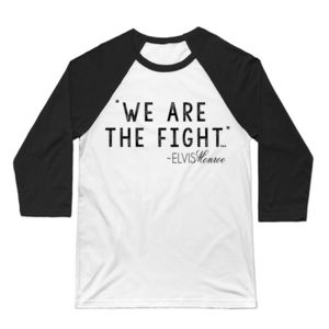 WE ARE THE FIGHT - Premium 3/4 Sleeve Baseball T-shirt - White/Black Thumbnail