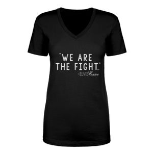 WE ARE THE FIGHT - Women's Short Sleeve V-neck T-shirt - Black Thumbnail