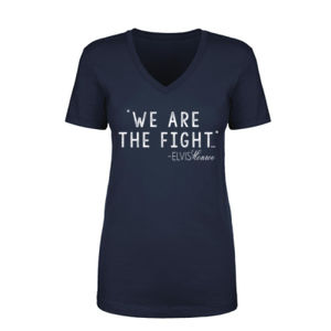 WE ARE THE FIGHT - Women's Short Sleeve V-neck T-shirt - Navy Thumbnail