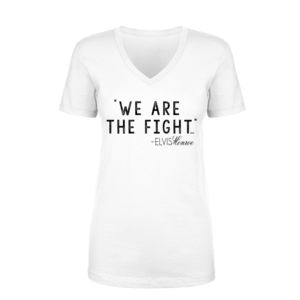 WE ARE THE FIGHT - Women's Short Sleeve V-neck T-shirt - White Thumbnail