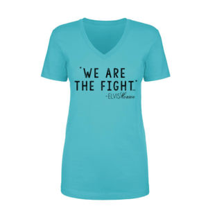 WE ARE THE FIGHT - Women's Short Sleeve V-neck T-shirt - Tahiti Blue Thumbnail