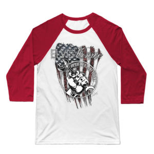 BLUE COLLAR MAN SKETCH - Premium 3/4 Sleeve Baseball T-shirt - White/Red Thumbnail