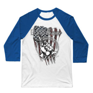 BLUE COLLAR MAN SKETCH - Premium 3/4 Sleeve Baseball T-shirt - White/Royal Thumbnail