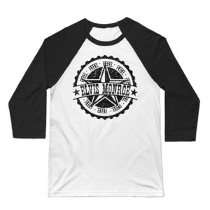 RETRO LOGO Black - Premium 3/4 Sleeve Baseball T-shirt - White/Black Thumbnail