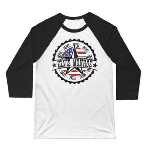 RETRO LOGO Flag - Premium 3/4 Sleeve  Baseball T-shirt - White/Black Thumbnail