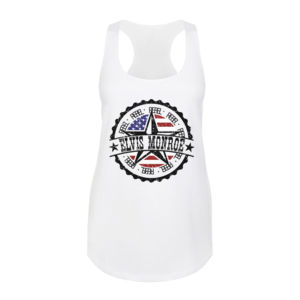 RETRO LOGO FLAG - Women's Premium Racerback Tank Top - White Thumbnail