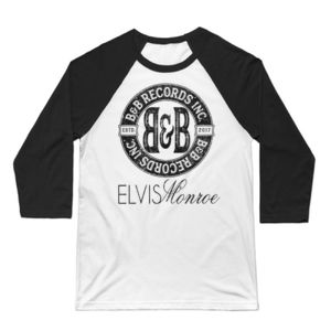 B&B RECORDS - 3/4 SLEEVE PREMIUM BASEBALL TEE - WHITE/BLACK Thumbnail
