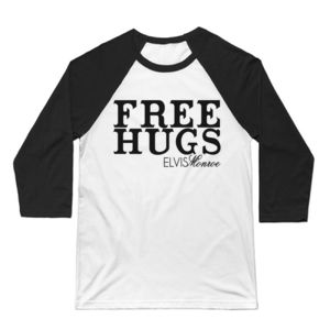FREE HUGS - 3/4 SLEEVE PREMIUM BASEBALL TEE - WHITE/BLACK Thumbnail